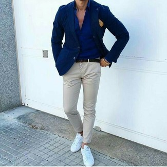 How to wear: navy blazer, navy dress shirt, grey chinos, white leather low top sneakers