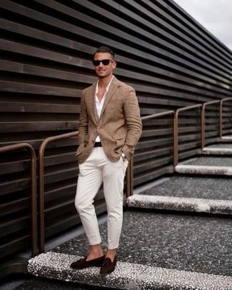 How to wear: brown blazer, white dress shirt, white chinos, dark brown suede tassel loafers