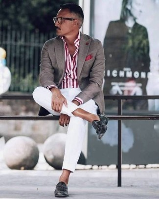 How to wear: brown blazer, white and red vertical striped dress shirt, white chinos, black leather tassel loafers