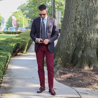 How to wear: dark brown check blazer, light blue dress shirt, burgundy chinos, burgundy leather loafers