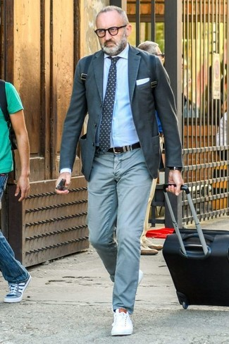 How to wear: charcoal blazer, light blue dress shirt, mint chinos, white leather low top sneakers