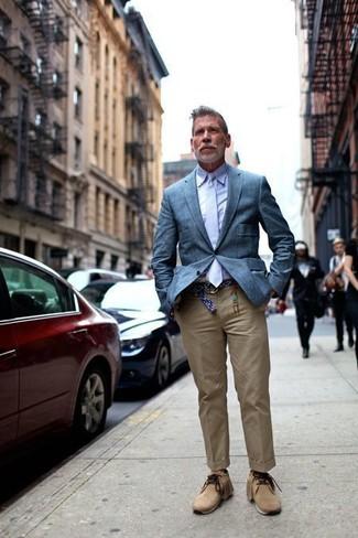 How to wear: blue blazer, light violet dress shirt, khaki chinos, tan suede desert boots