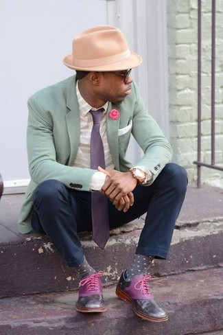 How to wear: mint blazer, white horizontal striped dress shirt, black chinos, purple leather oxford shoes