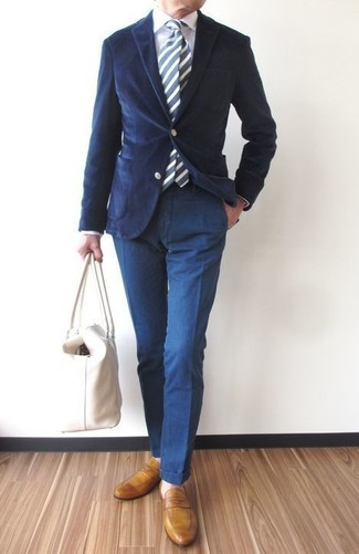 How to wear: navy corduroy blazer, white dress shirt, navy chinos, mustard leather loafers