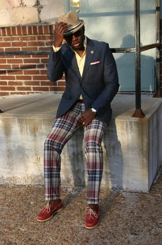 How to wear: black blazer, yellow dress shirt, multi colored plaid chinos, red leather driving shoes