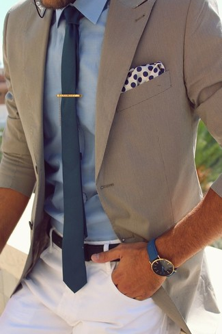 Consider pairing a blazer with white chinos for your nine-to-five.