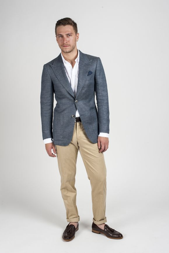 How To Wear Khaki Chinos With a Charcoal Blazer | Men's Fashion