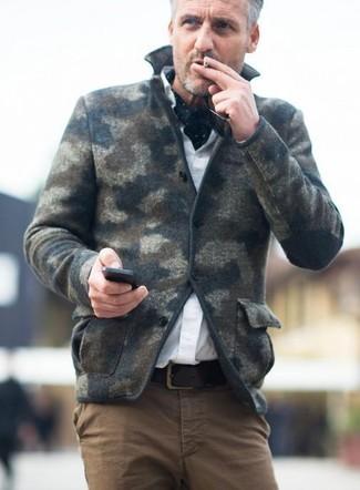 Men's Dark Green Camouflage Wool Blazer, White Dress Shirt, Brown Chinos, Black and White Polka Dot Scarf