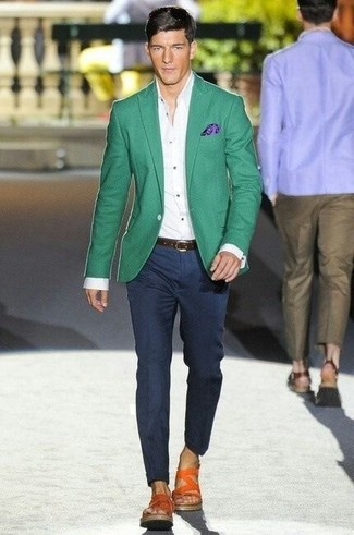 How to wear: green blazer, white dress shirt, navy dress pants, orange leather sandals