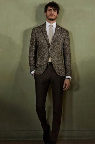 How to wear: dark brown wool blazer, white dress shirt, dark brown wool dress pants, beige tie