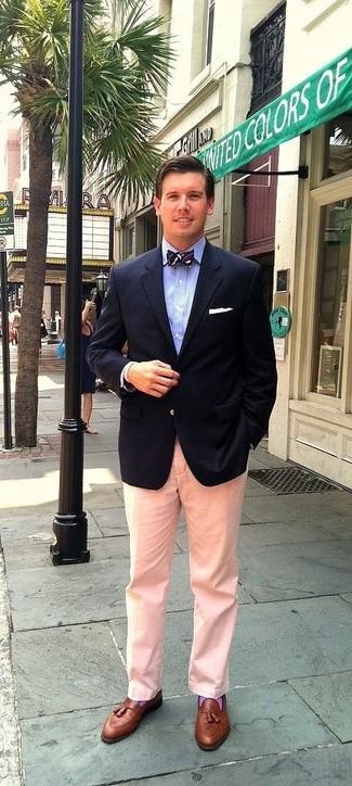 How to wear: navy blazer, light blue dress shirt, pink dress pants, brown leather tassel loafers