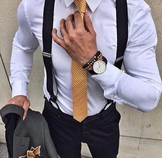 How to wear: charcoal blazer, white dress shirt, black dress pants, yellow polka dot tie