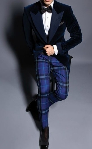 Pairing a velvet blazer and blue plaid dress pants will create a powerful and confident silhouette. For footwear go down the casual route with black leather loafers.