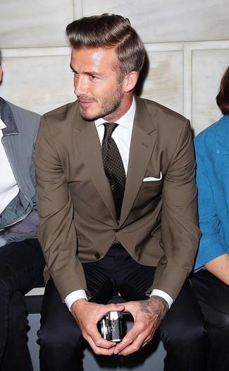 How to wear: brown blazer, white dress shirt, navy dress pants, dark brown polka dot tie