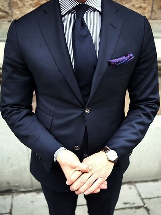 How to wear: navy blazer, white and navy vertical striped dress shirt, navy dress pants, navy tie