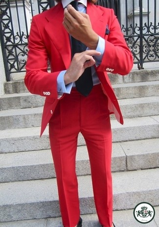 How to wear: red blazer, light blue dress shirt, red dress pants, black tie