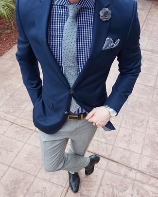 Men S Navy Blazer Blue Check Dress Shirt Grey Dress Pants Black