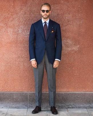 How to wear: navy blazer, light blue dress shirt, grey dress pants, dark brown leather oxford shoes