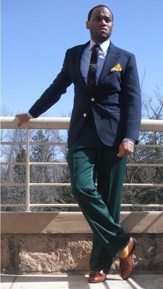 How to wear: navy blazer, blue dress shirt, green dress pants, brown leather tassel loafers