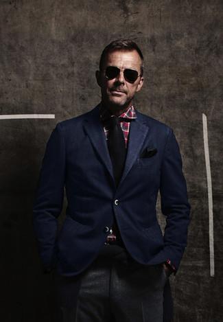 How to wear: navy blazer, red plaid dress shirt, grey wool dress pants, black tie
