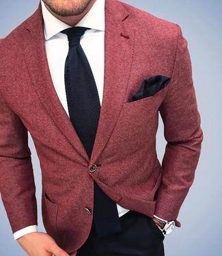 Men's Red Wool Blazer, White Dress Shirt, Black Dress Pants, Black Knit Tie