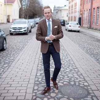 How to wear: brown plaid blazer, white dress shirt, navy dress pants, brown leather brogues