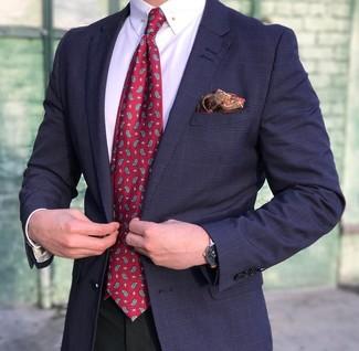 How to wear: navy plaid blazer, white dress shirt, black dress pants, red paisley tie