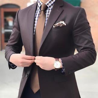 How to wear: dark brown blazer, brown gingham dress shirt, navy dress pants, brown tie