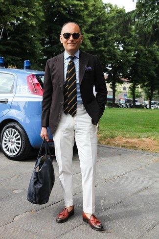 How to wear: black blazer, light blue dress shirt, white dress pants, red leather tassel loafers