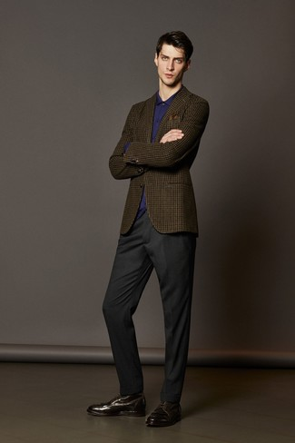 How to wear: brown check wool blazer, violet dress shirt, charcoal dress pants, dark brown leather dress boots