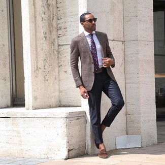 How to wear: brown blazer, white vertical striped dress shirt, black dress pants, brown suede tassel loafers