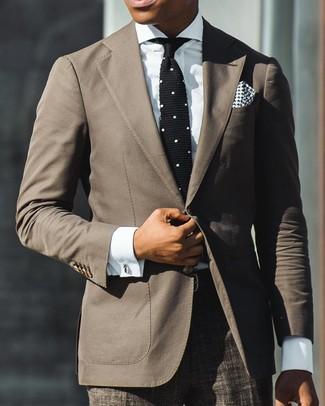 How to wear: brown blazer, white dress shirt, brown plaid dress pants, black and white knit tie