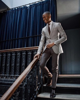 How to wear: grey blazer, white dress shirt, dark brown dress pants, black leather double monks