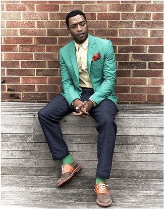How to wear: mint blazer, yellow dress shirt, navy dress pants, brown canvas oxford shoes