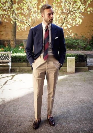 How to wear: navy blazer, white dress shirt, beige dress pants, dark brown leather tassel loafers