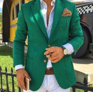 How to wear: green blazer, white dress shirt, white dress pants, tan print pocket square