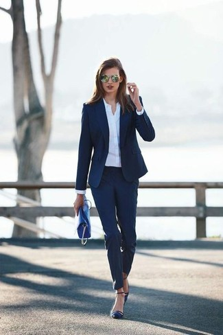How to wear: navy blazer, white dress shirt, navy dress pants, navy satin pumps