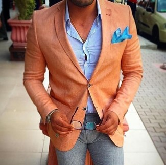 How to wear: orange blazer, light blue vertical striped dress shirt, grey wool dress pants, aquamarine pocket square