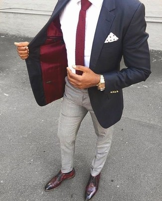 How to wear: black blazer, white dress shirt, grey dress pants, burgundy leather derby shoes