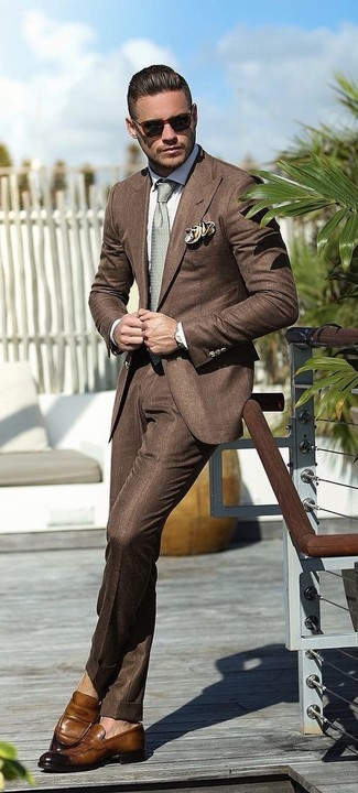 How to wear: brown blazer, white dress shirt, brown dress pants, brown leather loafers
