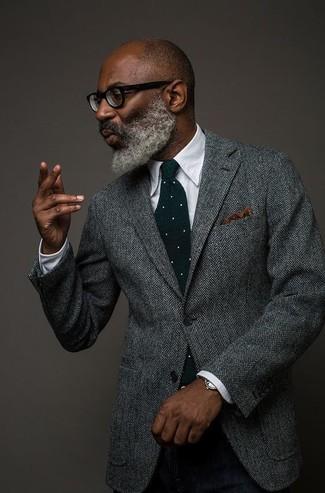 How to wear: grey herringbone wool blazer, white dress shirt, black wool dress pants, dark green polka dot wool tie