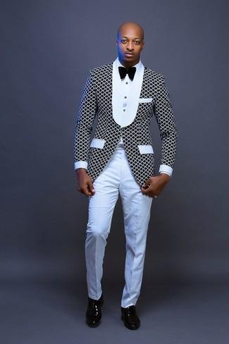 How to wear: black and white blazer, white dress shirt, white dress pants, black leather oxford shoes