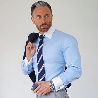 How to wear: black blazer, light blue dress shirt, grey check dress pants, navy vertical striped tie