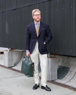 How to wear: navy wool blazer, white and navy vertical striped dress shirt, white dress pants, black leather tassel loafers
