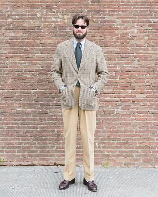 How to wear: beige houndstooth blazer, light blue dress shirt, khaki dress pants, dark brown leather tassel loafers