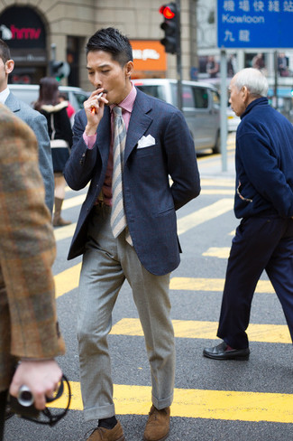 How to wear: navy blazer, white and red vertical striped dress shirt, grey wool dress pants, brown suede oxford shoes