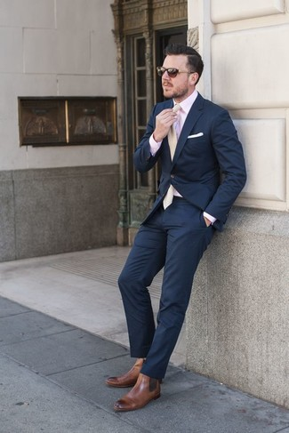 What color dress shirt with navy pants