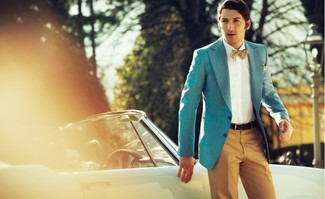 Nail that dapper look with an aquamarine blazer and tobacco suit pants. It is actually possible to remain fresh yet pulled-together under the scorching heat, and this ensemble is a vivid example of just that.