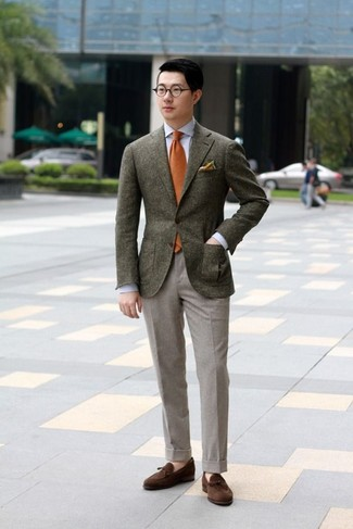 How to wear: dark brown wool blazer, light blue dress shirt, grey wool dress pants, dark brown suede tassel loafers