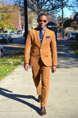 How to wear: tobacco cotton blazer, multi colored plaid dress shirt, tobacco dress pants, brown leather brogues